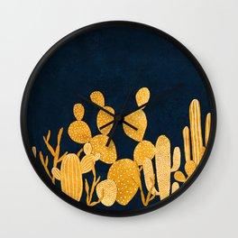 Golden cactus garden Wall Clock