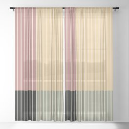 Color Block Line Abstract XII Sheer Curtain