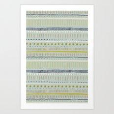 Teal & Green Pattern Art Print