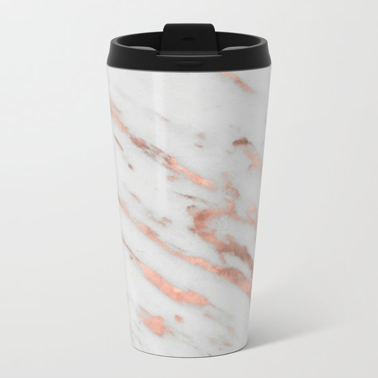Marble - Rose Gold Marble with White Gold Foil Pattern Metal Travel Mug