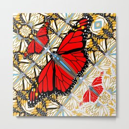 CONTEMPORARY RED BUTTERFLIES  ABSTRACT COLLAGE Metal Print