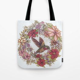 Hummingbird In Flowery Garden Wreath Tote Bag