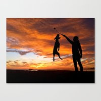 workout Canvas Prints featuring Sunset Workout by Sandy Broenimann