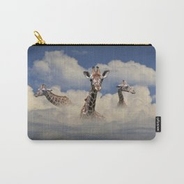 Heads above the Clouds with 3 Giraffes Carry-All Pouch