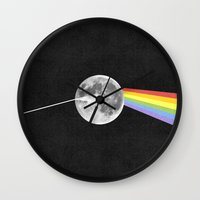 dark side of the moon Wall Clocks featuring Dark Side of the Moon. by Nick Nelson