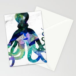 Watercolour Octopus on Marble Background Stationery Cards