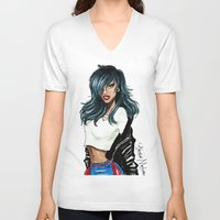 rihanna V-neck T-shirts featuring Rihanna by Armand Mehidri