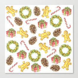 Christmas Watercolor Illustration Pattern Canvas Print