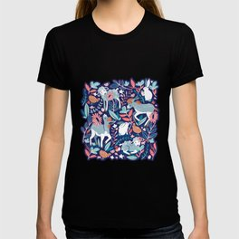 Spring Joy // navy blue background pale blue lambs and donkeys coral and teal garden T-shirt
