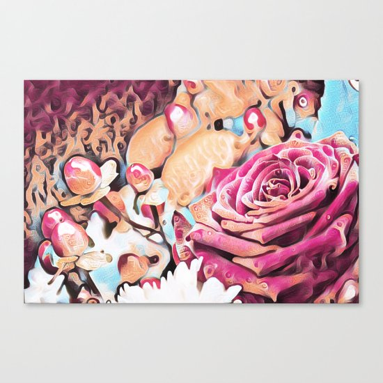 Textured illustration with rose and berries Canvas Print
