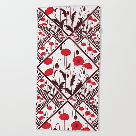 Bright floral pattern on a white background with decorative elements. Beach Towel