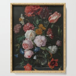 Still life with flowers in a glass vase, Jan Davidsz. de Heem, 1650 - 1683 Serving Tray