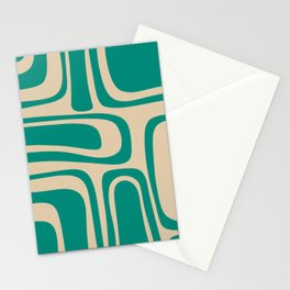 Palm Springs - Midcentury Modern Abstract Pattern in Mid Mod Turquoise Teal and Beige  Stationery Cards
