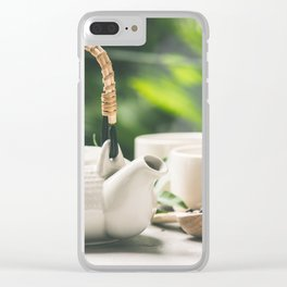 Tea composition on tropical leaves background- healthy life and relaxation concept Clear iPhone Case
