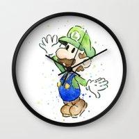 luigi Wall Clocks featuring Luigi Watercolor Art by Olechka