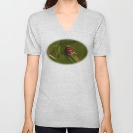 Red and black ladybird Unisex V-Neck