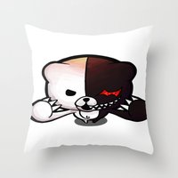 dangan ronpa Throw Pillows featuring Danganronpa- Monobear by Ren Flexx