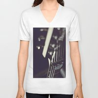guitar V-neck T-shirts featuring guitar by monicamarcov