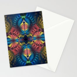 Mirrored abstract with tribal patterns and warm colors Stationery Cards