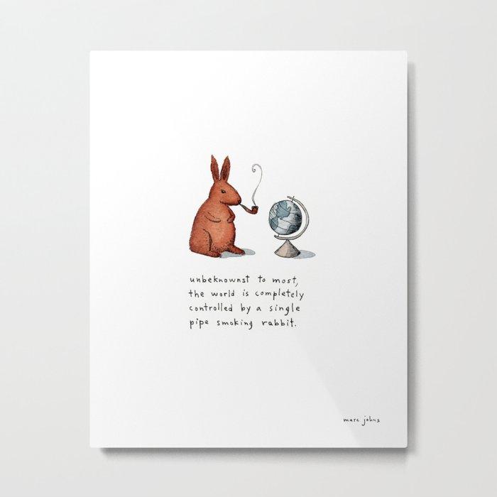 Pipe-smoking rabbit Metal Print