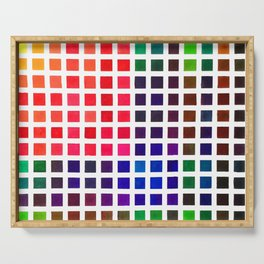 Vibrant Watercolor Tile Pattern Serving Tray