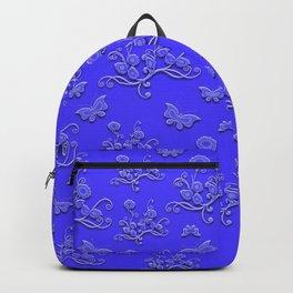 Flowers & butterflies in blue Backpack