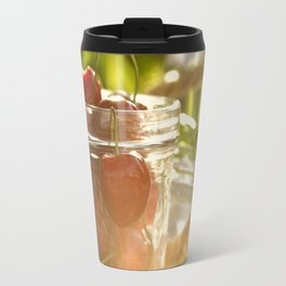 Fresh cherrie in glass Travel Mug