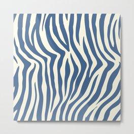 Navy Blue Zebra Print Metal Print