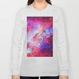 Galaxy Nebula Glitter Music Note Pink Space Long Sleeve T-shirt