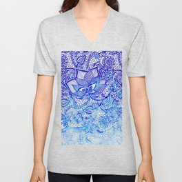 Modern china blue ombre watercolor floral lace hand drawn illustration Unisex V-Neck
