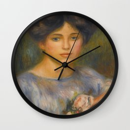 "Auguste Renoir ""Jeune fille aux roses (Young girl with flowers)"" Wall Clock"