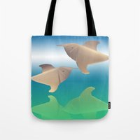 dolphins Tote Bags featuring dolphins by Ruud van Koningsbrugge