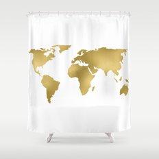 Gold Foil Map   Metallic Globe Design Shower Curtain