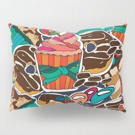 Pattern. Desserts, muffins, cupcakes, candies, cheesecake, chocolate, coffee. Pillow Sham