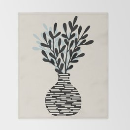 Still Life with Vase and Tree Branches Throw Blanket