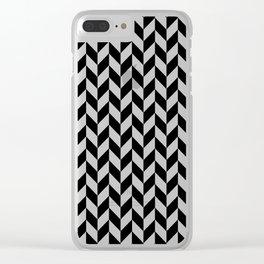 Black and White Herringbone Pattern Clear iPhone Case