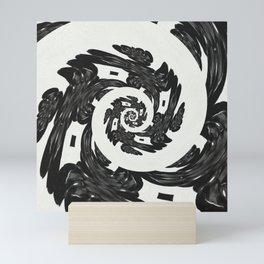 Black Goth Spiral Filigree Victorian Mini Art Print
