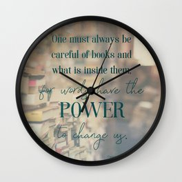 The power of books - Book Quote Collection Wall Clock