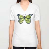 lime V-neck T-shirts featuring Lime Butterfly by Cat Coquillette
