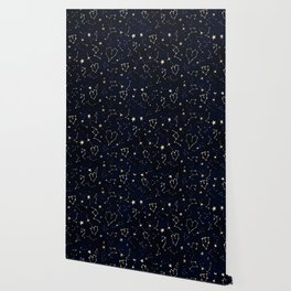 Modern gold constellation hearts stars space on navy blue watercolor Wallpaper