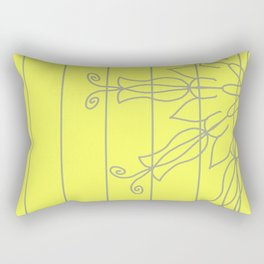 Yellow with grey striped floral design Rectangular Pillow