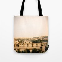 prague Tote Bags featuring Prague by rebecca lilianne wichmann