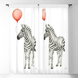 Baby Zebra with Red Balloon Blackout Curtain