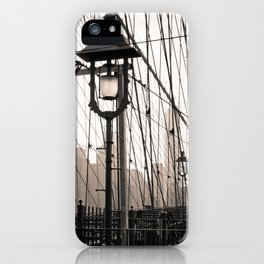 New York City's Brooklyn Bridge - Black and White Photography iPhone Case