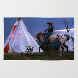 Cowboy on Horse With Teepee Rug