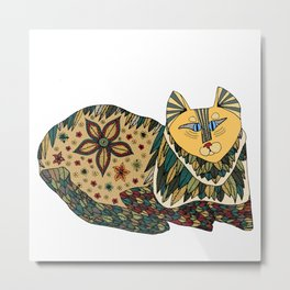 color cat square Metal Print