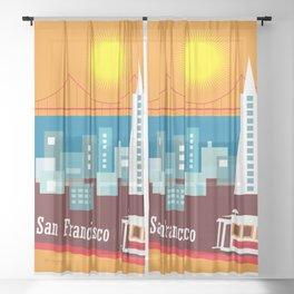 San Francisco, California - Skyline Illustration by Loose Petals Sheer Curtain