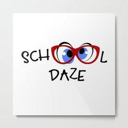 School Daze Red Glasses Blue Eyes Metal Print