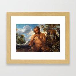 """Jacob Jordaens """"Satyr Playing the Pipe (Jupiter's Childhood)"""" Framed Art Print"""