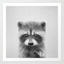 Raccoon - Black & White Art Print